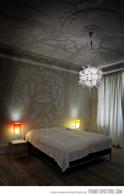 Chandelier turns the room into woods…AMAZING!