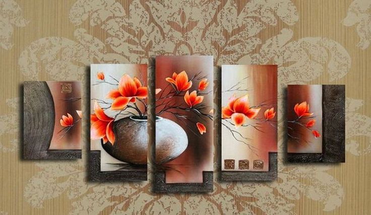MODERN ABSTRACT HUGE WALL ART OIL PAINTING ON CANVAS 5PC (no framed) #Abstract
