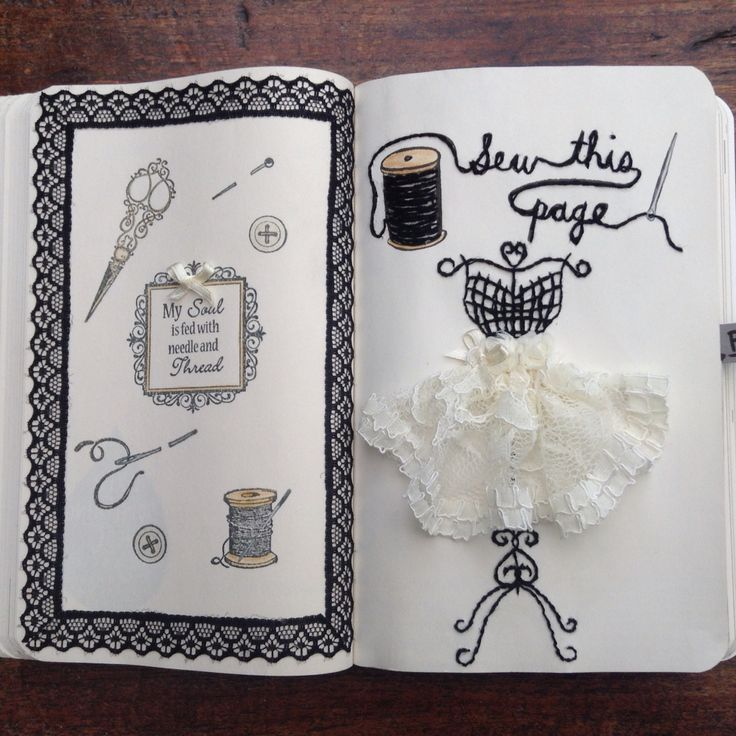 My first page is finished!! Sew this page from wreck this journal. Instagram @beetlelover16