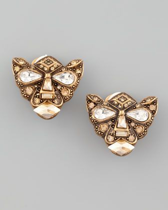 Crystal Panther Clip Earrings by Oscar de la Renta at Neiman Marcus.