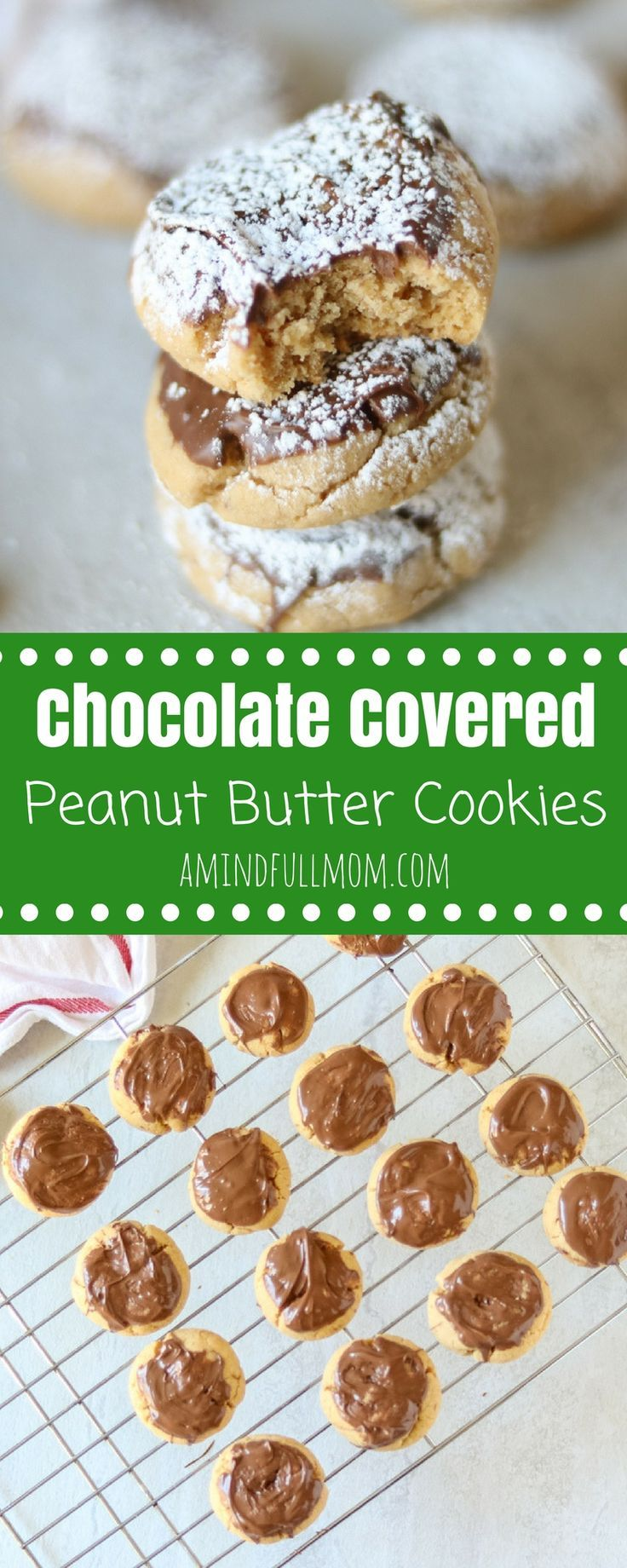 Chocolate Covered Peanut Butter Cookies AKA Muddy Buddy Cookies: A tender peanut butter cookie is dipped in milk chocolate and then dusted with powdered sugar.#cookies #ChristmasCookies #baking #peanutbutter #chocolate #chocolatepeanutbutter #holidaybaking via @amindfullmom