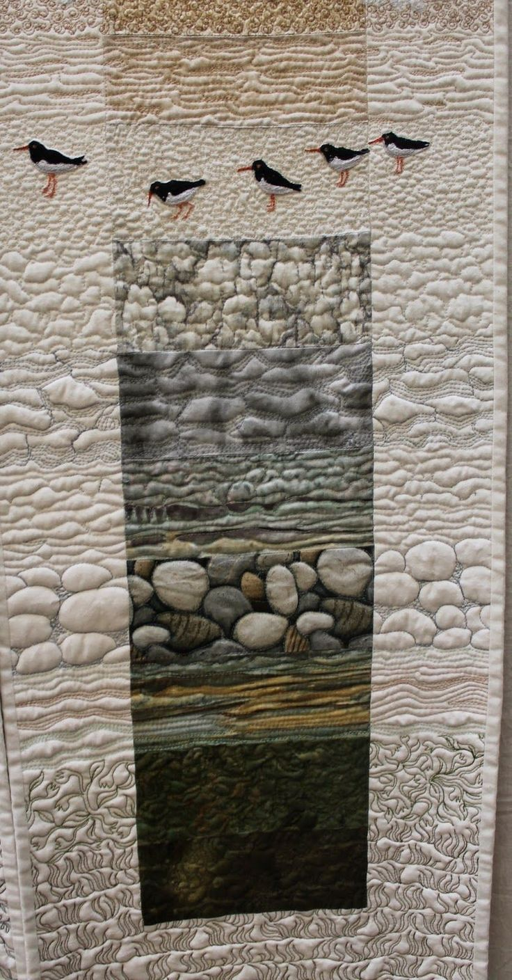 "Close up of Sheena Norquay's ""Summer and Winter Island Strips with Oystercatchers"". All of Me: NZ National Quilt Symposium : Part 1"