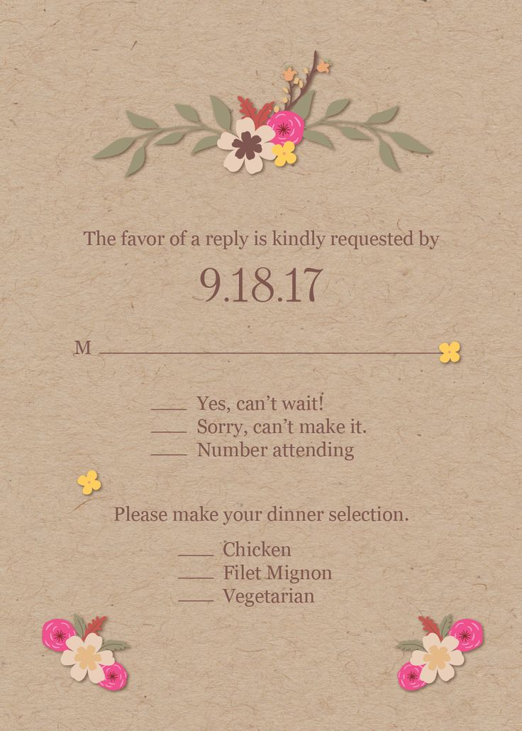 Beautiful, kraft paper, floral reply card - great for your fall wedding and to match your invitation. Wait until you see the rest of the suite at our website! | CatPrint Design #1132