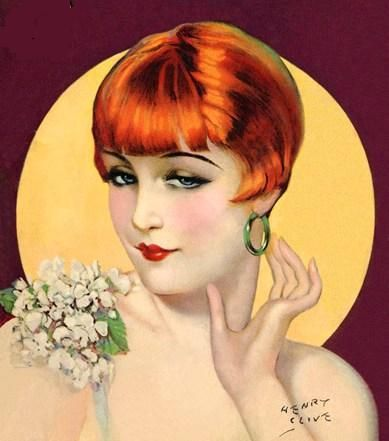 Girl Flapper by Henry Clive (1882 - 1960) Born Henry O'Hara in Australia. Childhood on sheep ranch outside Melbourne.  Working as Magician, made his way to Hollywood; acted in silent films; 1920's, began painting Ziegfeld Girls, then big stars (Gloria Swanson, Polga Negri) for promo campaigns. Rest is history.  http://girlflapper.blogspot.com/2009/11/henry-clive.html