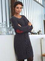 Gebreide jurk met kabels, Patroon Bergere de France.