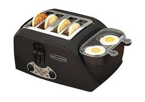 This gadget will toast your muffins and poach two eggs in just minutes, whipping up your favorite breakfast sandwich without requiring you to make the drive.  With four slots for muffins and two for eggs, you can make yourself two sandwiches at a time.