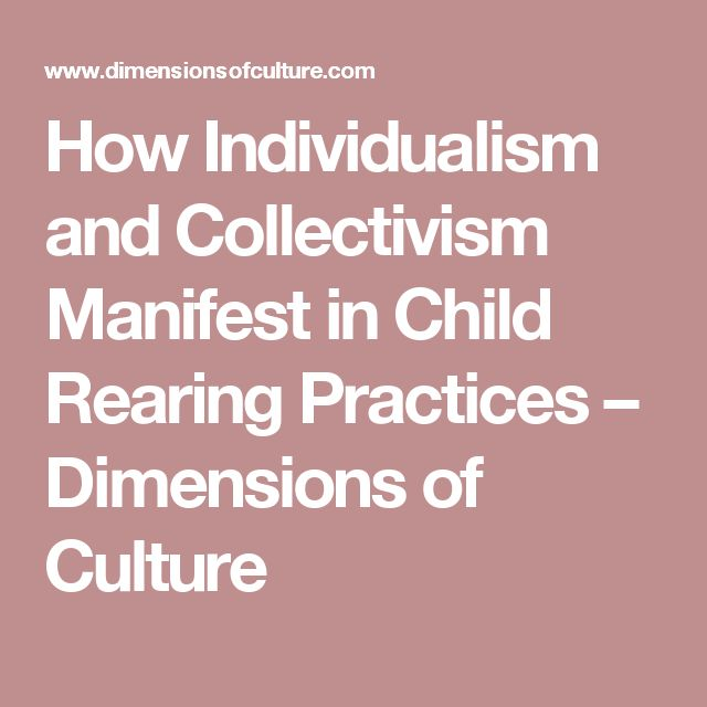 How Individualism and Collectivism Manifest in Child Rearing Practices – Dimensions of Culture