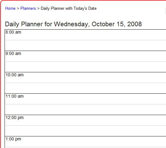 day planner online template