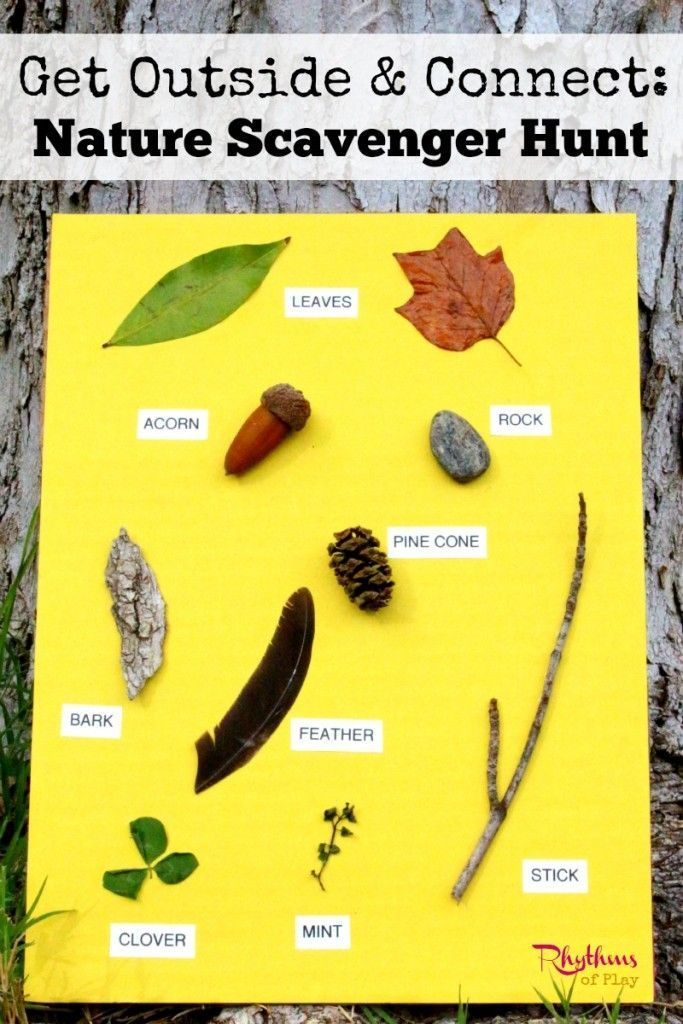 Nature Scavenger Hunt -- There are many ways to create a nature scavenger hunt. This one uses items found at the location that you will have your hunt glued to a large sensory card. Other variations, links to printables, and extension activities are included!