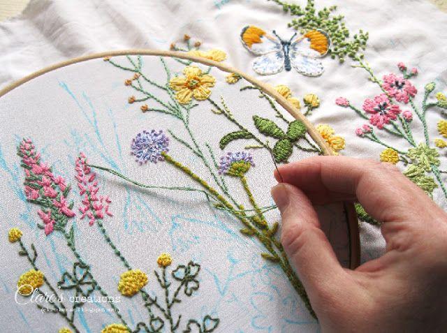Wildflower embroidery design.