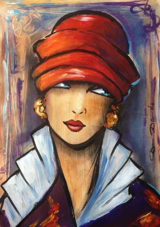 """""""Sometimes..."""" (Peinture),  29x40 cm par Dam Domido Portrait expressionniste d'inspiration Art déco, portrait féminin sur papier format A4                                                                                                                                                                                 Plus"""