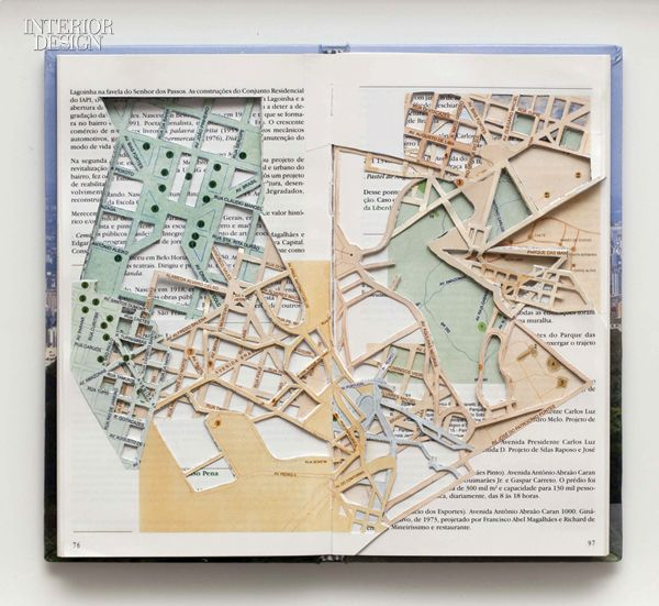 """Daniel Escobar: Atlas of Urban Anatomy, cut paper maps for """"Fictitious Topographies"""" at RH Gallery, New York. Photography: courtesy of RH Gallery and the artist."""