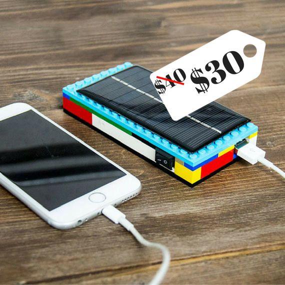 Caricatore solare di LEGO DIY Kit - * vendita * iPhone caricabatterie, telefono cellulare caricabatterie, Banca portatile potere, Lego regalo, regalo per uomo o donna, regali per bambini