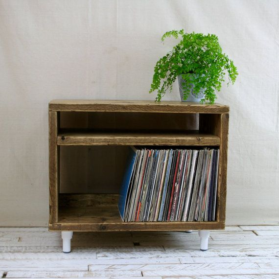 reclaimed wood tv stand record player vinyl unit white leg