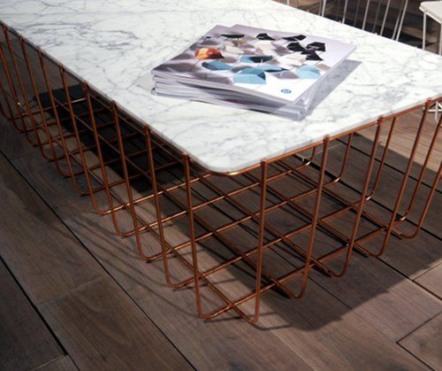 Marble Coffee Table With Copper Legs: Awesome Copper And Marble Coffee Table By Blu Dot.