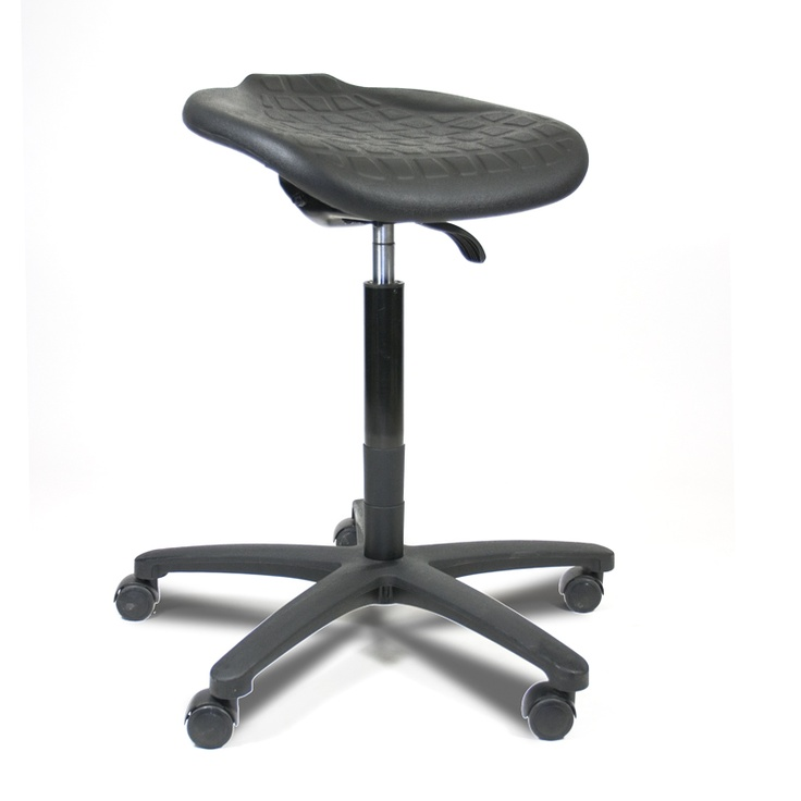 Industrial Sit Stand Stool with a waterfall seat pan. Height and seatpan angle adjustable, lock when loaded casters.