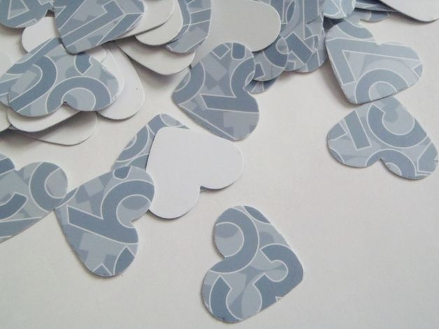 Scrapbooking - 95 numeri cuori azzurro grigio bianco coriandoli - un prodotto unico di LaSoffittaDiSte su DaWanda