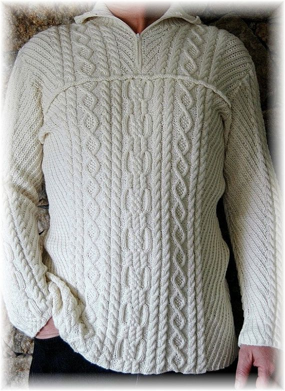 """Elegant Sweater for Men """"Mount Assiniboine"""", handknit in soft Merino-Silk-Bamboo blend - supersoft and chic gift for him"""