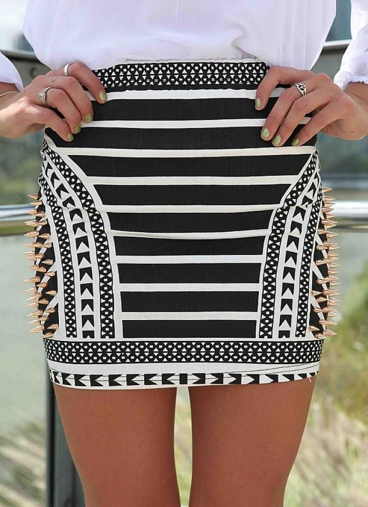 Black Prints Skirt - Black and White African Print | UsTrendy