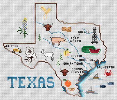 Sue Hillis Designs Texas Map - Cross Stitch Pattern