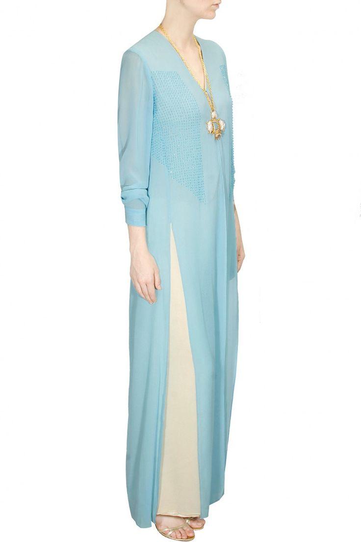 Sky blue sequins embellished slit jacket available only at Pernia's Pop-Up Shop.