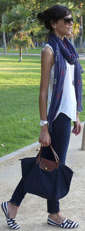 There's not one thing here that I don't love--love the shoes, love the Longchamp, love the scarf, love the shirt.