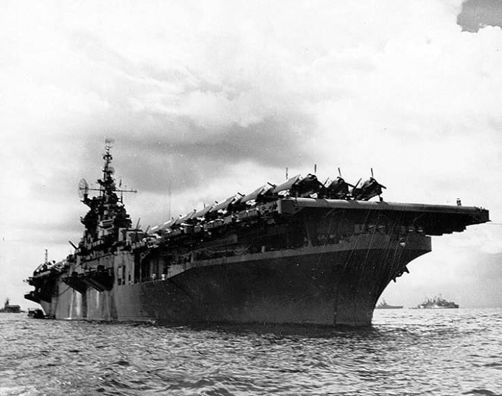 USS Randolph at anchor San Pedro Bay Leyte Gulf Philippines June 1945.