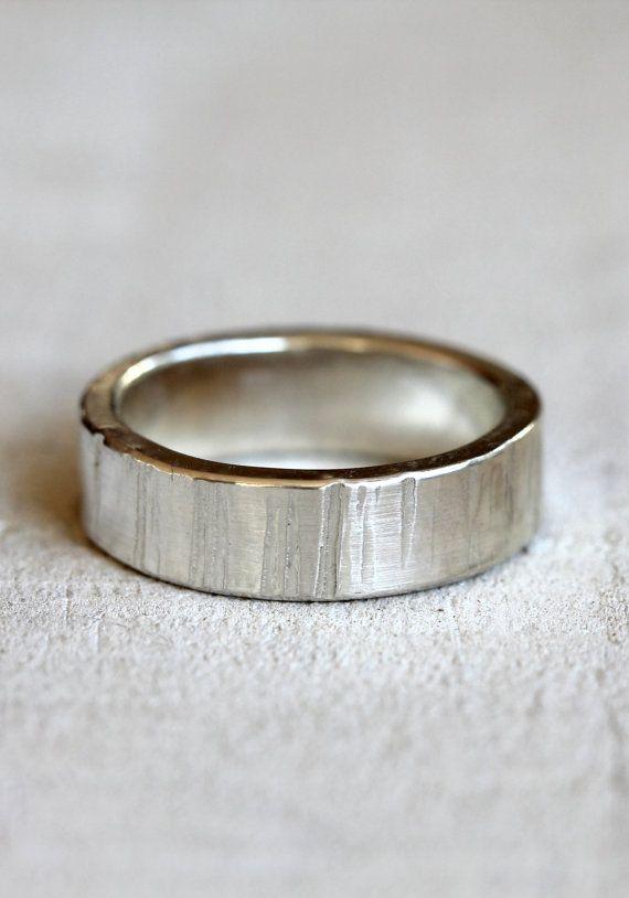 Men's tree bark wedding band by PraxisJewelry on Etsy Praxis Jewelry