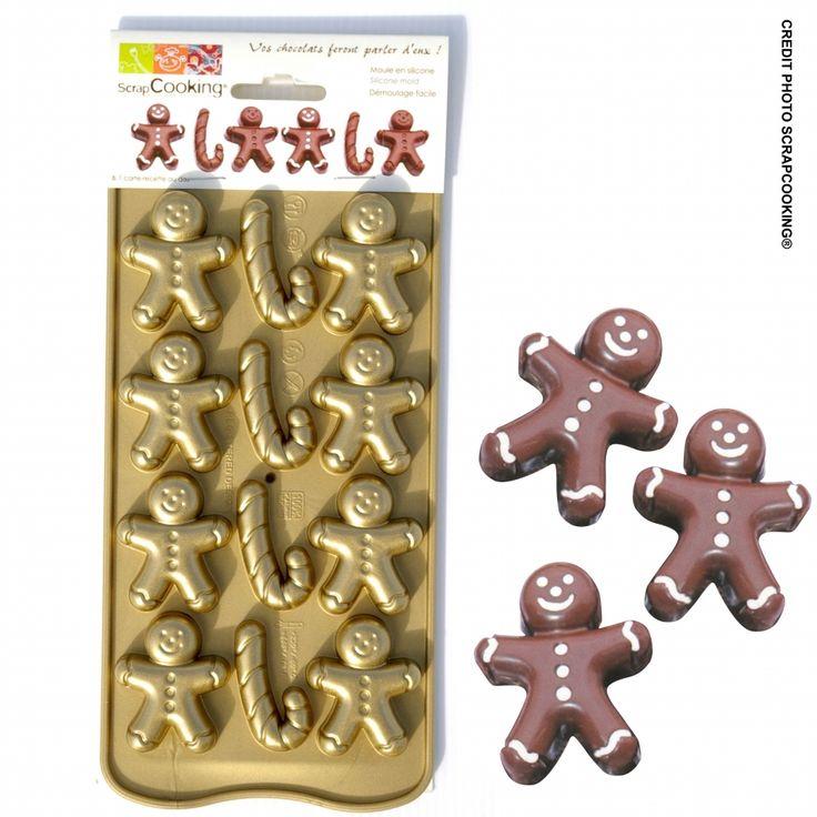 Réalisez des chocolats maison originaux en forme de petits bonhommes d'épices et de sucres d'orge grâce à ce moule en silicone !