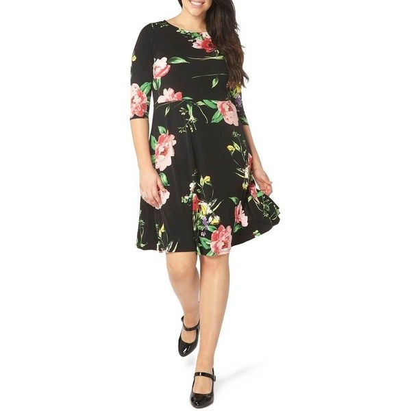 Plus Size Women's Evans Floral Skater Dress ($69) ❤ liked on Polyvore featuring dresses, dark multi, plus size, plus size night out dresses, plus size floral dresses, floral print dress, jersey dress and floral skater dress
