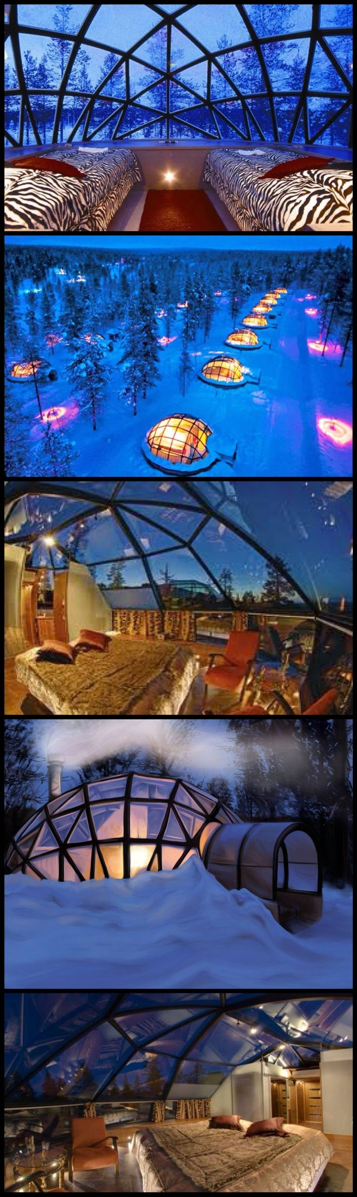Kakslauttanen Arctic Resort - The famous Glass Igloos in Finland are definitly one of the most romantic Hotels of the world. Sleep under the Stars and in one of the world's best places for watching the Northern Lights.