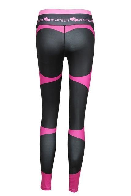 Fitness Legging Women High Waist Heartbeat Print Push Up Ankle-Length Pants Elasticity Leggings Women Black M