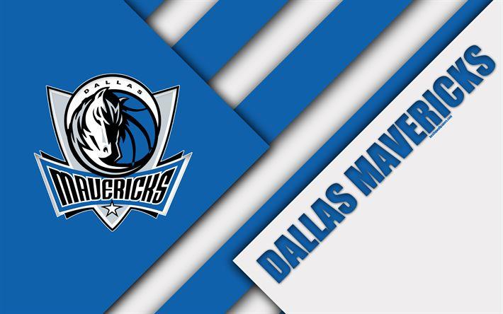 Download wallpapers Dallas Mavericks, 4k, logo, material design, American basketball club, white blue abstraction, NBA, Dallas, Texas, USA, basketball