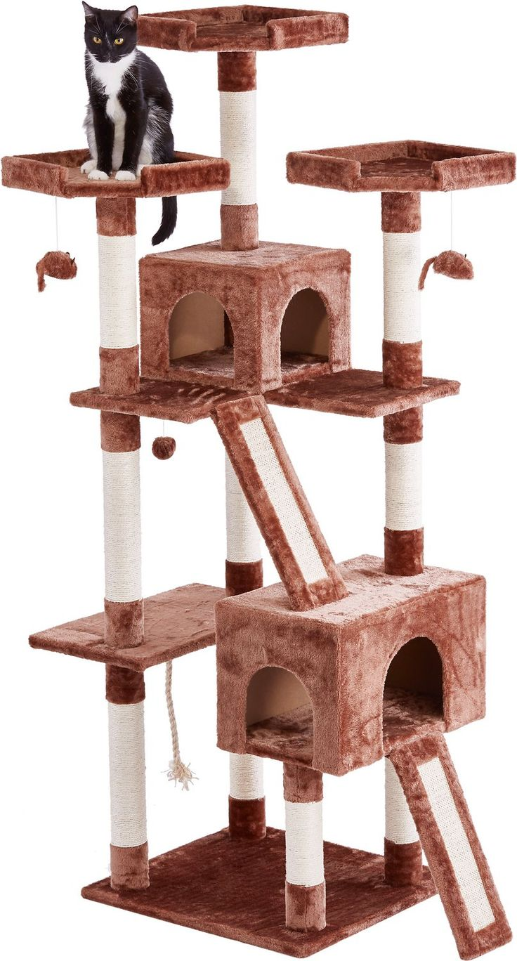 The Frisco 72-Inch Brown Cat Tree is the ultimate all-in one spot for your kitty to do all the things she loves, from lounging to leaping to honing her expert hunting skills. Frisky cats can jump from perch to perch as they climb to the top of their lookout tower. Carefully placed dangling toys give kitty the thrill of the hunt as she bats them around till her heart's content. With 10 enticing scratching posts and two scratch board ramps, several cats can claw at once, so it's great for…