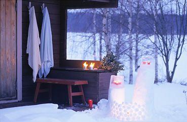 Buiten sauna in de winter