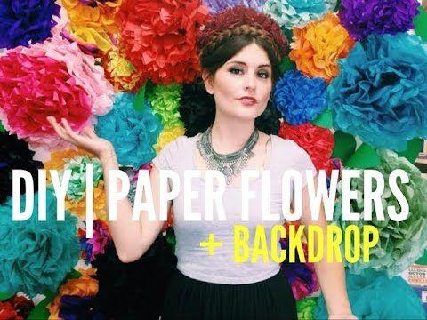 DIY | Paper Flowers + Flower Wall Backdrop - YouTube