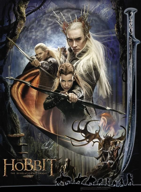 The Hobbit: The Desolation of Smaug. The poster focuses on the elf characters in the film, including Legolas (Orlando Bloom), Tauriel (Evangeline Lilly), and Thranduil (Lee Pace).
