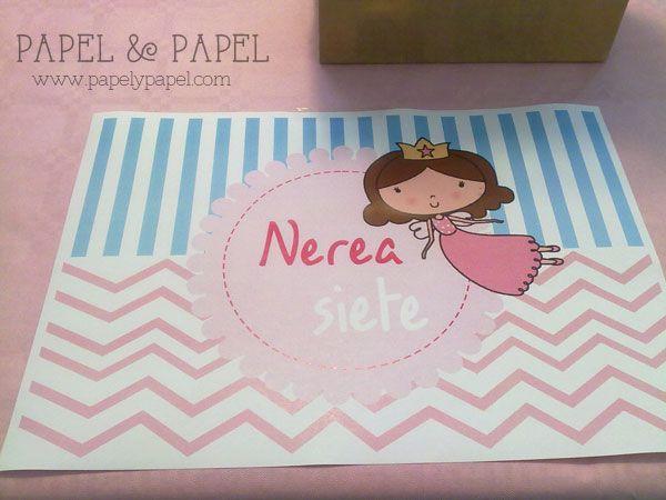 manteles personalizado para fiesta de princesas en azul y rosa