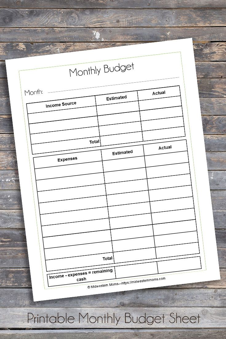 Starting to budget? You need to be able to track your income and expenses. Here is a FREE Printable Monthly Budget Sheet to help you get started!