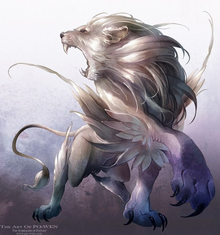 Feathered Lion -- [REPINNED by All Creatures Gift Shop] Beautifully painted!
