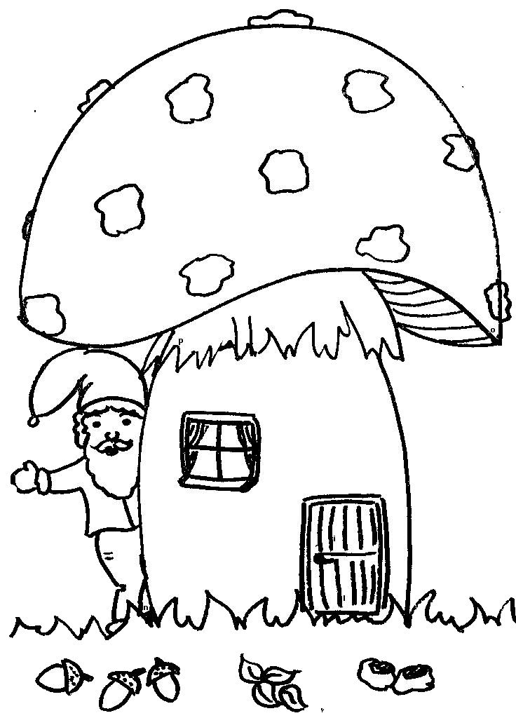 gnome house coloring pages