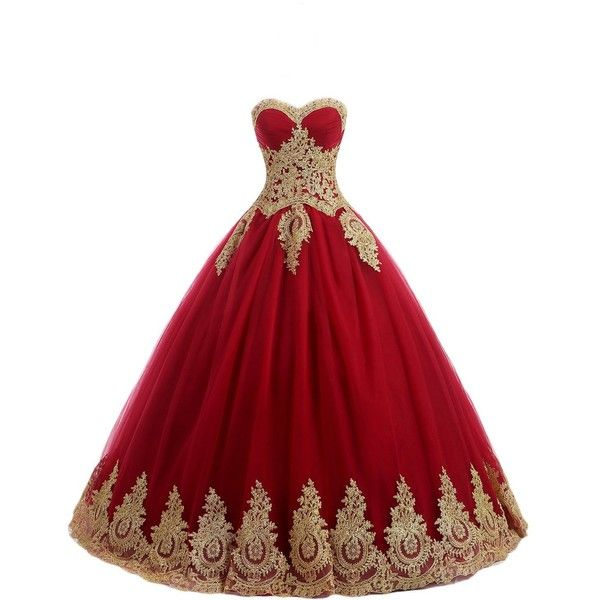 OYISHA Womens Sweetheart Prom Dresses Appliqued Quinceanera Dress Ball... ❤ liked on Polyvore featuring dresses, gowns, red gown, red evening gowns, red prom gowns, sweetheart neckline prom dresses and red ball gown