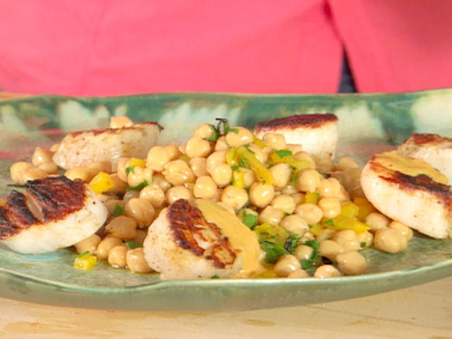 Cumin Grilled Sea Scallops with Chickpea Salad and Red Pepper-Tahini Vinaigrette from FoodNetwork.com