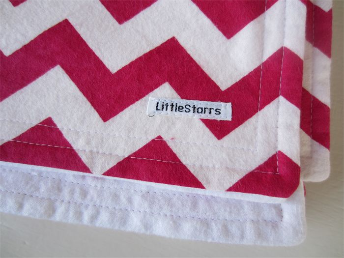 Pink and White Zig Zag Flannel Baby Blanket | by LittleStarrs |