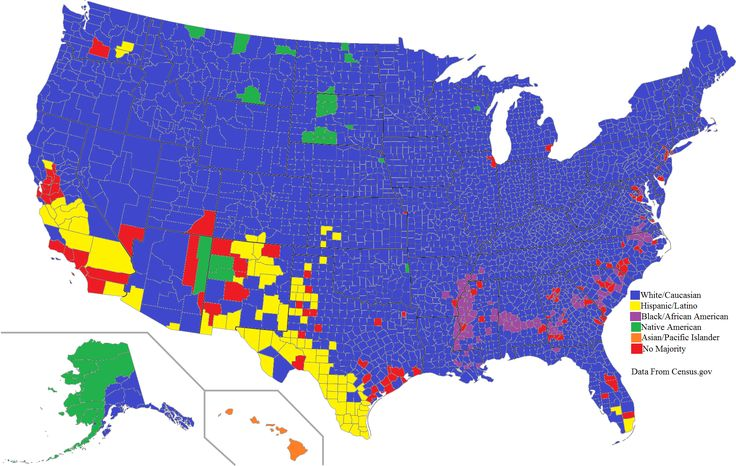An ethnic map of the United States by county majority [2000x1267] [OC]