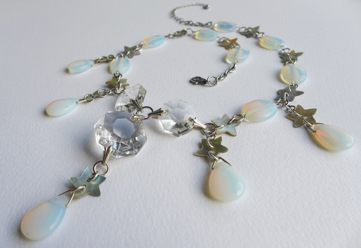 Moon and Stars Opalite Statement Necklace. Sea opal, crystal and star button necklace, bridal statement necklace