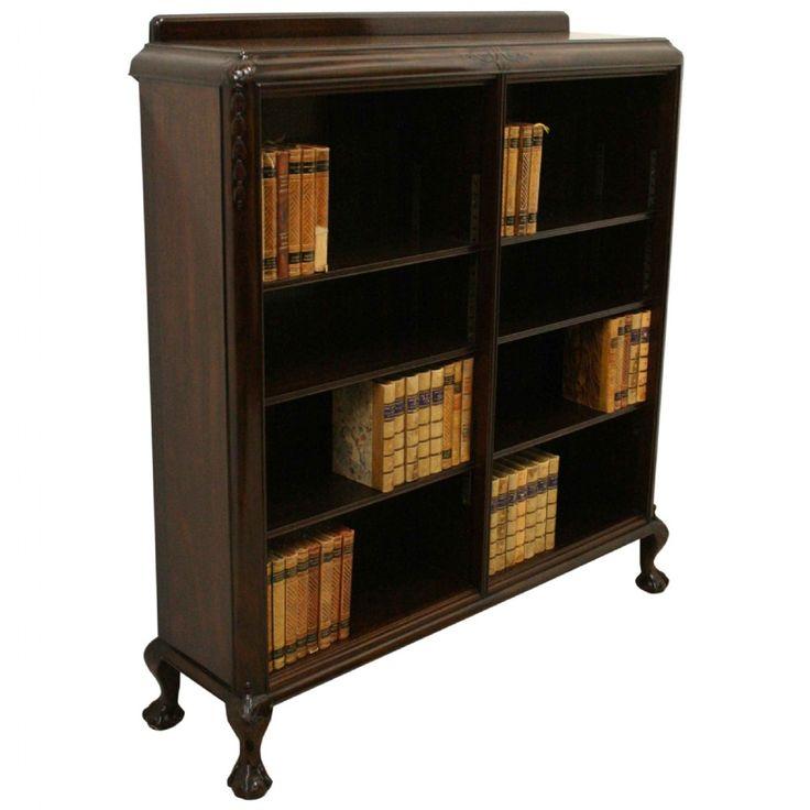 Scottish Carved Mahogany Open Bookcase