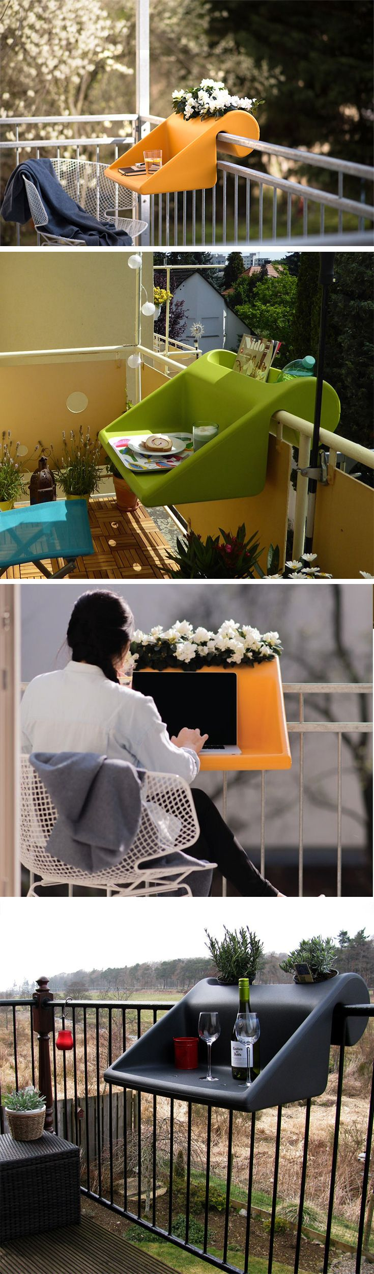The Balkonzept desk fits onto any balcony, making the wonderful cityscape either your workplace, or a setting for a beautiful lunch/dinner date. Available in wonderfully fresh colors, it's sturdy enough to take the weight of a laptop, dining set, or a few potted plants. It uses a counter-balancing area which makes a great mini-garden, or even a book-case or bottle-rack. Buy Now!