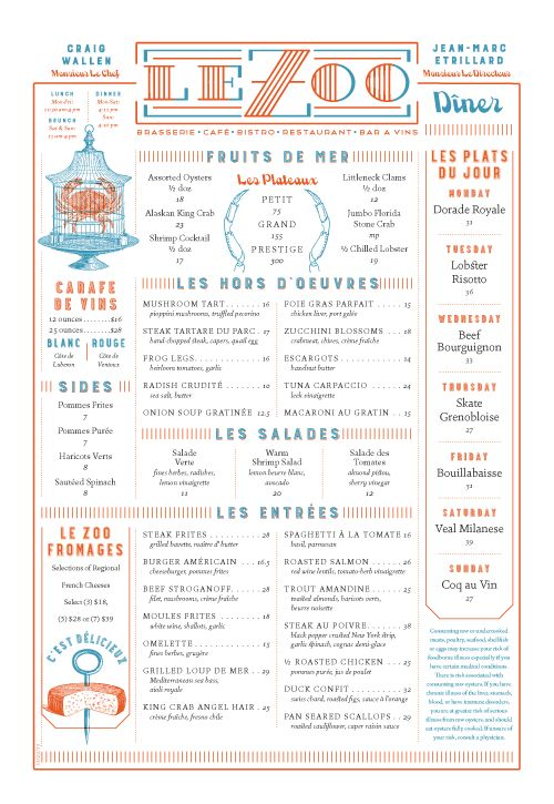 Le Zoo Menu by DeVicq Design | visual communication. graphic design. menu design. restaurant menu. layout. grid. hierarchy. typography. illustration.