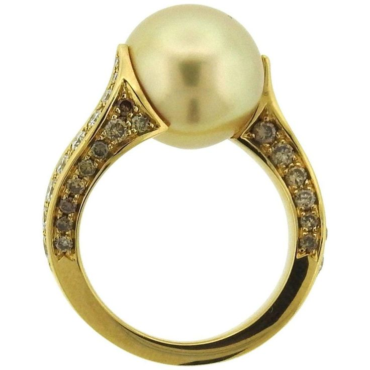 Mikimoto Golden South Sea Pearl Diamond Gold Ring